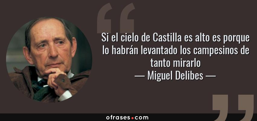 Frases de Miguel Delibes - Si el cielo de Castilla es alto es porque lo habrán levantado los campesinos de tanto mirarlo