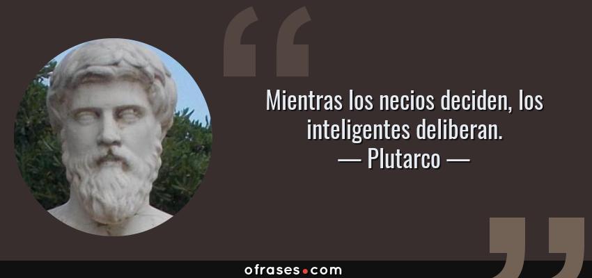 Frases de Plutarco - Mientras los necios deciden, los inteligentes deliberan.