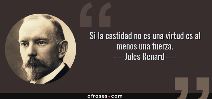 Frases de Jules Renard - Si la castidad no es una virtud es al menos una fuerza.