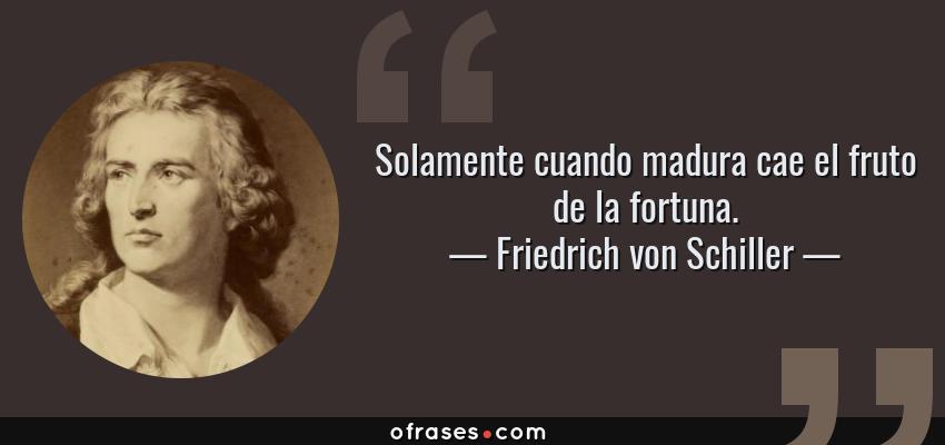 Frases de Friedrich von Schiller - Solamente cuando madura cae el fruto de la fortuna.