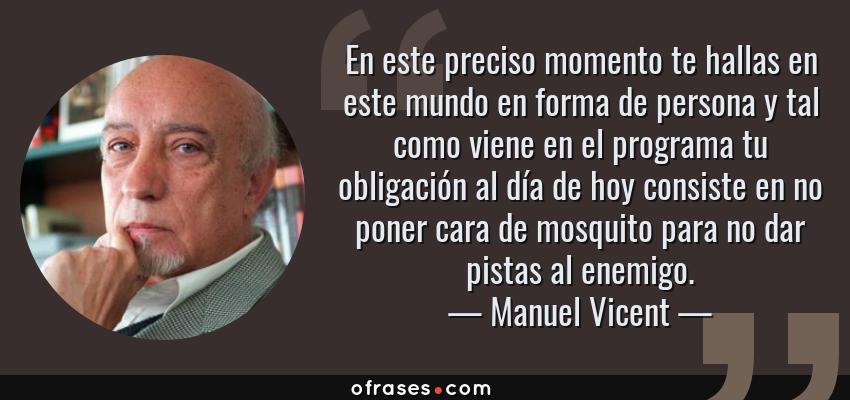 Frases de Manuel Vicent - En este preciso momento te hallas en este mundo en forma de persona y tal como viene en el programa tu obligación al día de hoy consiste en no poner cara de mosquito para no dar pistas al enemigo.