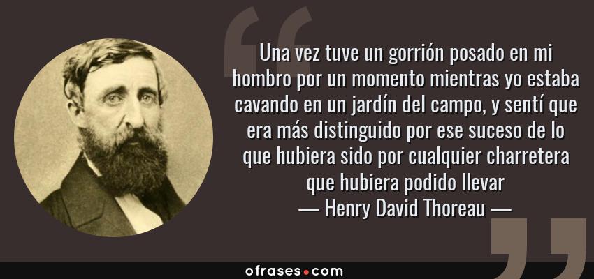 Frases de Henry David Thoreau - Una vez tuve un gorrión posado en mi hombro por un momento mientras yo estaba cavando en un jardín del campo, y sentí que era más distinguido por ese suceso de lo que hubiera sido por cualquier charretera que hubiera podido llevar