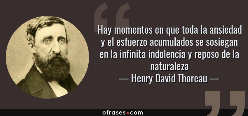 Frases de Henry David Thoreau - Hay momentos en que toda la ansiedad y el esfuerzo acumulados se sosiegan en la infinita indolencia y reposo de la naturaleza