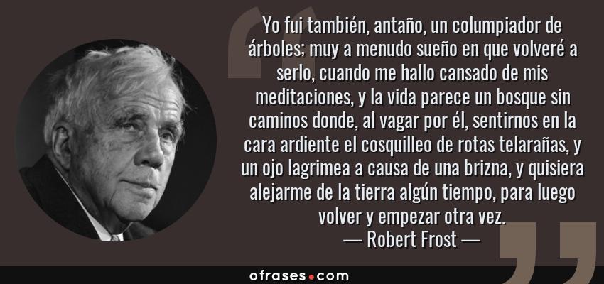 Frases de Robert Frost - Yo fui también, antaño, un columpiador de árboles; muy a menudo sueño en que volveré a serlo, cuando me hallo cansado de mis meditaciones, y la vida parece un bosque sin caminos donde, al vagar por él, sentirnos en la cara ardiente el cosquilleo de rotas telarañas, y un ojo lagrimea a causa de una brizna, y quisiera alejarme de la tierra algún tiempo, para luego volver y empezar otra vez.