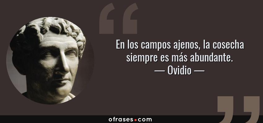 Frases de Ovidio - En los campos ajenos, la cosecha siempre es más abundante.
