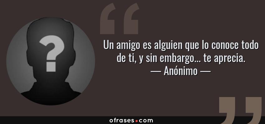 Frases de Anónimo - Un amigo es alguien que lo conoce todo de ti, y sin embargo... te aprecia.