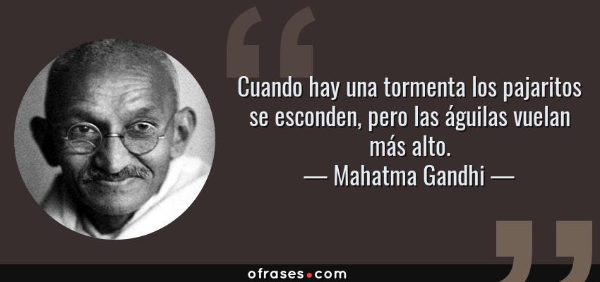 Frases de Mahatma Gandhi - Cuando hay una tormenta los pajaritos se esconden, pero las águilas vuelan más alto.