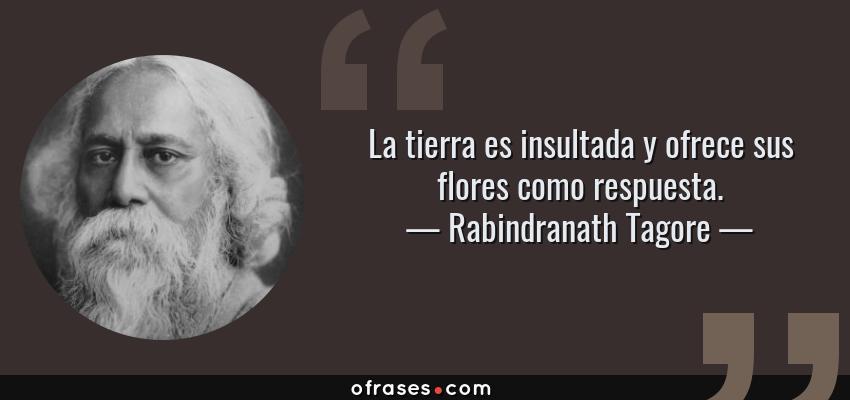 Frases de Rabindranath Tagore - La tierra es insultada y ofrece sus flores como respuesta.