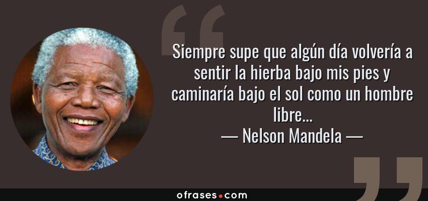 Frases de Nelson Mandela - Siempre supe que algún día volvería a sentir la hierba bajo mis pies y caminaría bajo el sol como un hombre libre...