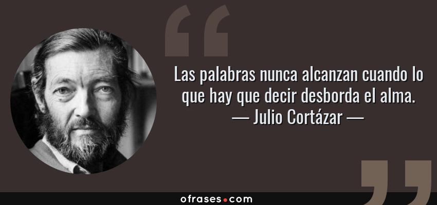 Frases de Julio Cortázar - Las palabras nunca alcanzan cuando lo que hay que decir desborda el alma.