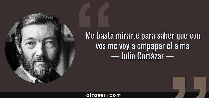Frases de Julio Cortázar - Me basta mirarte para saber que con vos me voy a empapar el alma