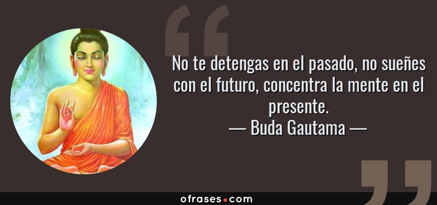 Frases de Buda Gautama - No te detengas en el pasado, no sueñes con el futuro, concentra la mente en el presente.