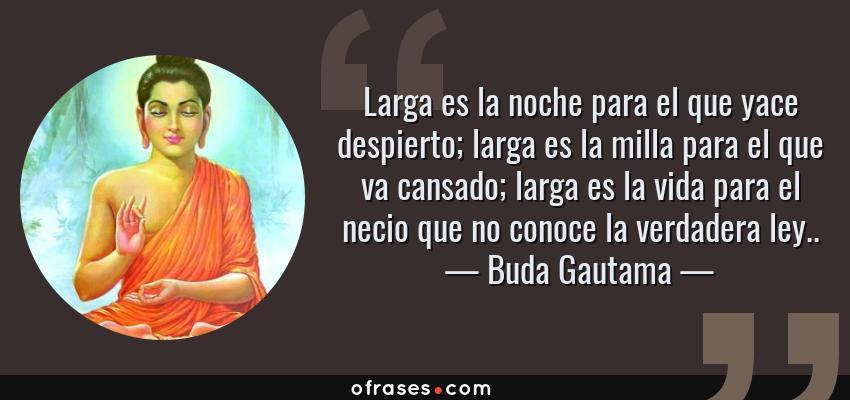 Frases de Buda Gautama - Larga es la noche para el que yace despierto; larga es la milla para el que va cansado; larga es la vida para el necio que no conoce la verdadera ley..