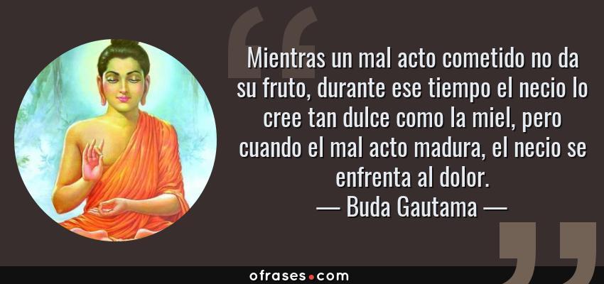 Frases de Buda Gautama - Mientras un mal acto cometido no da su fruto, durante ese tiempo el necio lo cree tan dulce como la miel, pero cuando el mal acto madura, el necio se enfrenta al dolor.