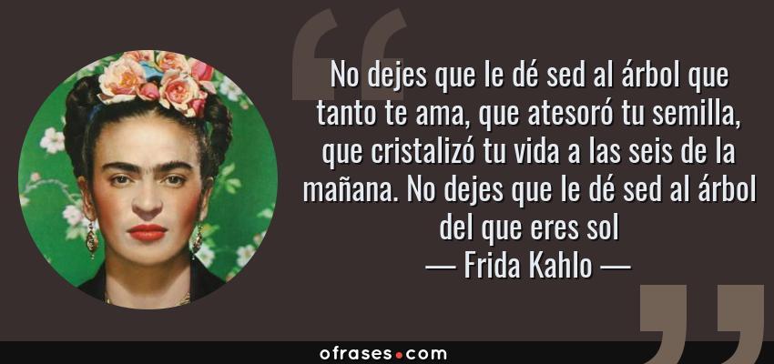 Frases de Frida Kahlo - No dejes que le dé sed al árbol que tanto te ama, que atesoró tu semilla, que cristalizó tu vida a las seis de la mañana. No dejes que le dé sed al árbol del que eres sol