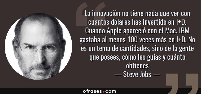 Frases de Steve Jobs - La innovación no tiene nada que ver con cuantos dólares has invertido en I+D. Cuando Apple apareció con el Mac, IBM gastaba al menos 100 veces más en I+D. No es un tema de cantidades, sino de la gente que posees, cómo les guías y cuánto obtienes