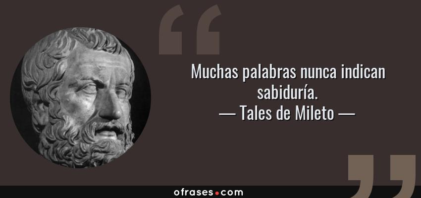 Frases de Tales de Mileto - Muchas palabras nunca indican sabiduría.