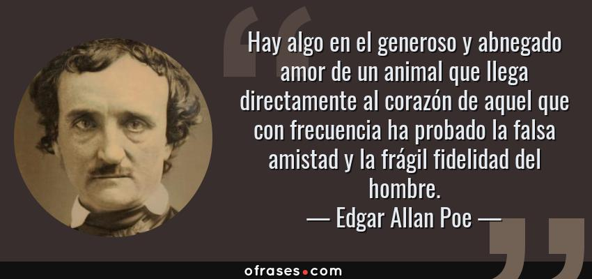 Frases de Edgar Allan Poe - Hay algo en el generoso y abnegado amor de un animal que llega directamente al corazón de aquel que con frecuencia ha probado la falsa amistad y la frágil fidelidad del hombre.