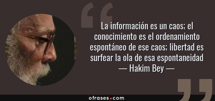 Frases de Hakim Bey - La información es un caos; el conocimiento es el ordenamiento espontáneo de ese caos; libertad es surfear la ola de esa espontaneidad