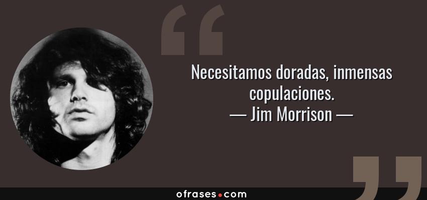 Frases de Jim Morrison - Necesitamos doradas, inmensas copulaciones.