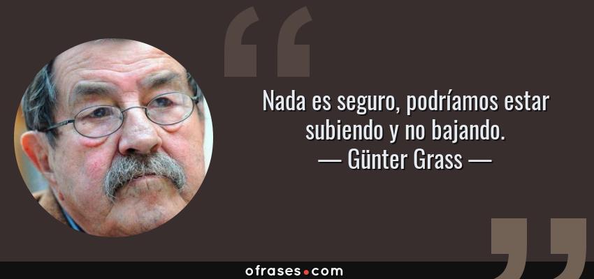 Frases de Günter Grass - Nada es seguro, podríamos estar subiendo y no bajando.