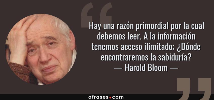 Frases de Harold Bloom - Hay una razón primordial por la cual debemos leer. A la información tenemos acceso ilimitado; ¿Dónde encontraremos la sabiduría?