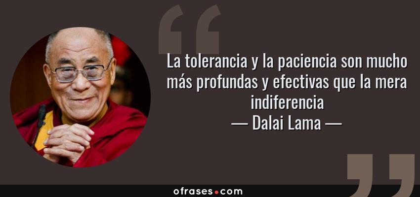 Frases de Dalai Lama - La tolerancia y la paciencia son mucho más profundas y efectivas que la mera indiferencia