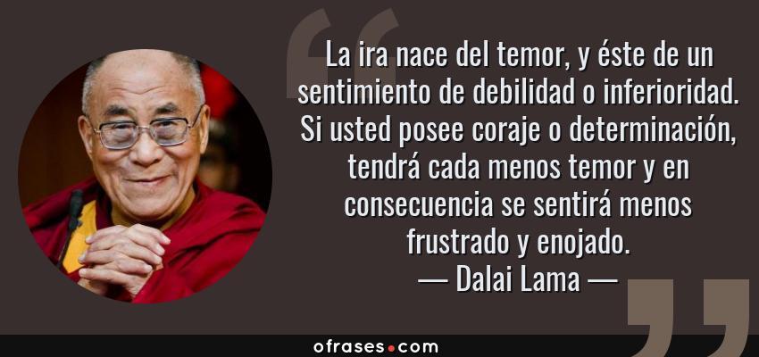 Dalai Lama La Ira Nace Del Temor Y éste De Un Sentimiento