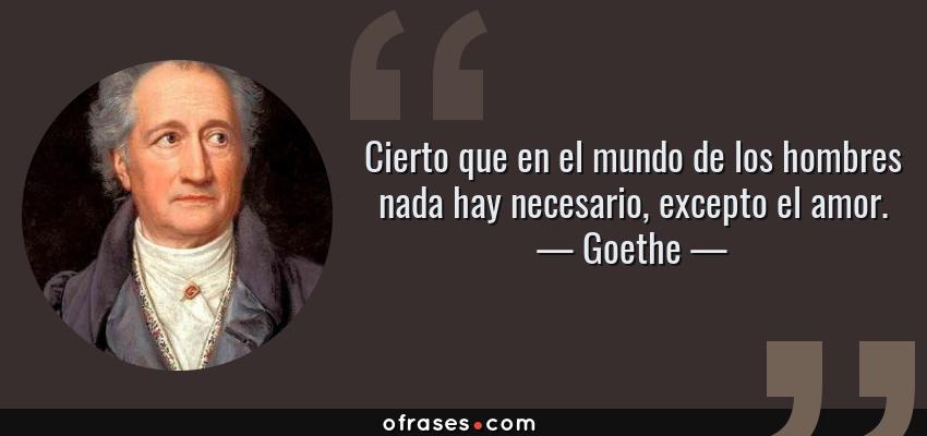 Frases de Goethe - Cierto que en el mundo de los hombres nada hay necesario, excepto el amor.