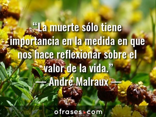 André Malraux La muerte sólo tiene importancia en la medida en que nos hace reflexionar sobre el valor de la vida.