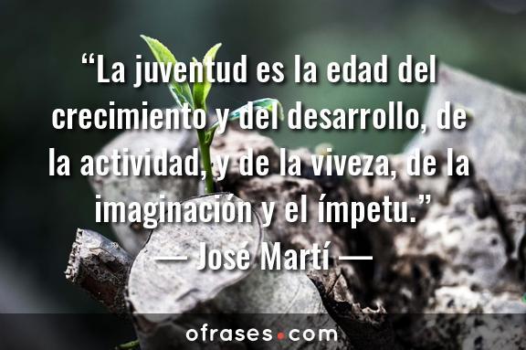 José Martí La juventud es la edad del crecimiento y del desarrollo, de la actividad, y de la viveza, de la imaginación y el ímpetu.